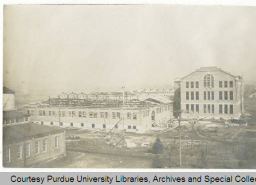 Exterior photograph of Michael Golden Labs during construction; completed 1910