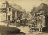 French village scene showing people on horses and horses drinking from fountain