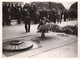 Amelia laying flowers at Escadrille memorial