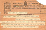 Telegram, 1928 June 19, London, to Miss Amelia Earhart, Southampton