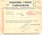 Telegram, 1928 June 19, Boston, Mass., to Amelia Earhart, London