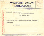 Telegram, 1928 June 19, Champaign, Ill., to Amelia Earhart, Burry Port