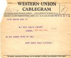 Telegram, 1928 June 20, Boston, Mass., to Miss Amelia Earhart, London