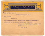 Telegram, 1932 June 19, New Rochelle, N.Y., to Amelia Earhart, New York, N.Y.