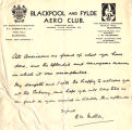 Letter, 1932 May 22, Blackpool, to Amelia Earhart