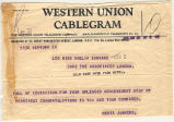 Telegram, 1928 June 20, New York, to Miss Amelia Earhart, London