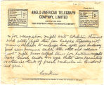 Telegram, circa 1928, to Amelia Earhart