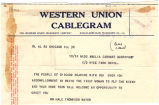 Telegram, 1928 June 19, Chicago, Ill., to Miss Amelia Earhart, Burry Port