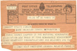 Telegram, 1928 June 19,Paris, to Earhart, Stultz, Gordon, Southampton
