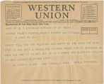 Telegram, 1932 May 21, New York, N.Y., to George Palmer Putnam