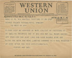 Telegram, 1932 May 20, Thetford, Vt., to George Palmer Putnam