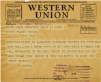 Telegram, 1932 May 21, Hollywood, Calif., to George Palmer Putnam, Rye, N.Y.