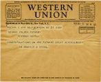Telegram, 1932 May 21, New York, NY., to George Palmer Putnam