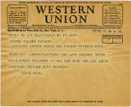 Telegram, 1932 May 21, Ithaca, NY, to George Palmer Putnam