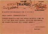 Telegram, undated, to Amelia Earhart
