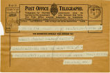 Telegram, 1932 May 21, Philadelphia, Penn., to Amelia Earhart, Culmore, Ulster