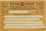 Telegram, 1932 May 21, London, to Miss Amelia Earhart, Londonderry