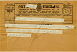 Telegram, 1932 May 22, Santa Monica, Calif., to Amelia Earhart Putnam, Culmore, Ulster North