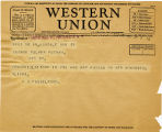 Telegram, 1932 May 22, Kinsale, Vir., to George Palmer Putnam, Rye, NY