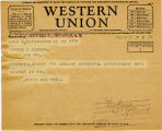 Telegram, 1932 May 22, Washington, DC, to George P. Putnam, Rye, NY