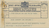 Telegram, 1932 May 23, Berlin, to Miss Earhart, London