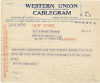 Telegram, 1932 May 23, New York, to Earhart Putnam, London