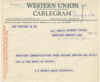 Telegram, 1932 May 25, Chicago, to Amelia Earhart Putnam, London