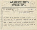 Telegram, 1932 May 26, New York, to Miss Amelia Earhart, London