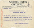 Telegram, 1932 May 27, Rye, NY, to Mrs. Amelia Earhart Putnam, London
