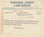 Telegram, 1932 May 28, New York, to Amelia Earhart Putnam, London