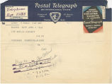 Telegram, 1932 June 2, to Amelia Earhart, Rye, NY
