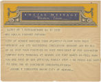 Telegram, undated, Newark, NJ, to Mrs. Amelia Earhart Putnam