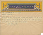 Telegram, undated, New York NY, to Amelia Earhart