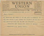 Telegram, 1932 June 18, Worcester, Mass., to Amelia Earhart