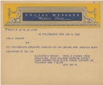 Telegram, 1932 June 18, Philadelphia, Penn., to Amelia Earhart, New York