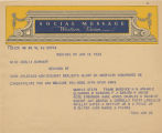 Telegram, 1932 June 19, New York, NY, to Miss Amelia Earhart, New York, NY