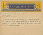 Telegram, undated, Grant's Pass, Or., to Amelia Earhart