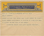 Telegram, undated, Clarksburg, W. Va., to Amelia Earhart
