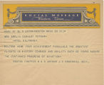 Telegram, undated, Boston, Mass., to Mrs. Amelia Earhart Putnam