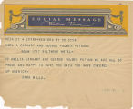 Telegram, undated, New York, NY, to Amelia Earhart and George Palmer Putnam