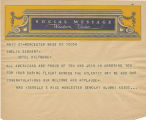 Telegram, undated, Worcester, Mass., to Amelia Earhart