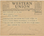 Telegram, 1932 June 20, Madison, Wis., to Amelia Earhart