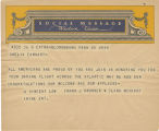 Telegram, undated, Bloomsburg, Penn., to Amelia Earhart