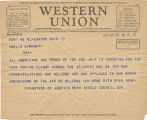 Telegram, 1932 June 20, Canton, Ohio, to Amelia Earhart, New York