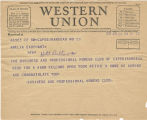 Telegram, 1932 June 20, Cape Girardeau, Fla., to Amelia Earhart, New York