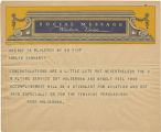 Telegram, undated, Leroy, NY, to Amelia Earhart