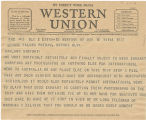 Telegram, 1937 March 16, New York, NY, to George Palmer Putnam, Oakland