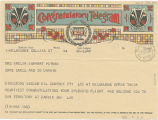 Telegram, 1937 June 21, Melbourne, to Mrs. Amelia Earhart Putnam, Darwin
