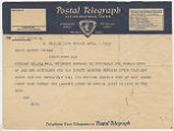 Telegram, 1935 Apr. 1, Mexico City, Mexico, to David Binney Putnam, Fort Pierce, Fla.