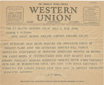 Telegram, 1937 July 5, Burbank, Calif., to George P. Putnam, Oakland, Calif.